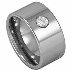 12MM Wide Pipe Cut Men's Tungsten Wedding Ring w/ Simulated Diamond