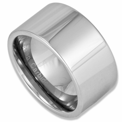 12MM Wide Pipe Cut Men's Tungsten Wedding Ring
