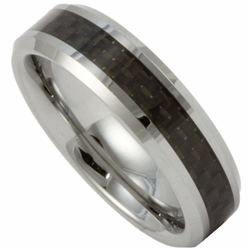 6MM Tungsten and Black Carbon Fiber Mens or Womens (Unisex) Ring