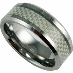 8MM Tungsten and White Carbon Fiber Ring