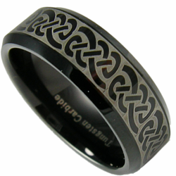 Black Celtic 'Laser Etched' Tungsten Wedding Ring