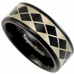 8MM Black Tungsten Laser Etched 'Argyle' Pattern Wedding Ring