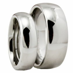 His and Her Classic Domed Tungsten Wedding Ring Set