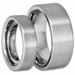 Mens and Womens Satin Finish Pipe Cut Tungsten Wedding Band Set