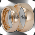 His and Her Classic Domed Tungsten Wedding Ring Set with 18K Rose Gold Plating