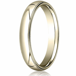 4MM Classic Domed 10K Gold Milgrain Comfort Fit Ring