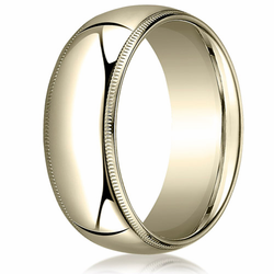 8MM Classic Domed 10K Gold Milgrain Comfort Fit Wedding Ring