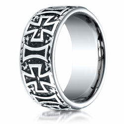 Men's Cobalt Chrome Ring w/ Crosses and Antiqued Finish by Benchmark