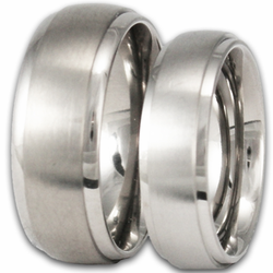 His and Her Brushed Titanium Wedding Ring Set