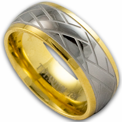 8MM Titanium and 18K Gold Weave Pattern Wedding Ring
