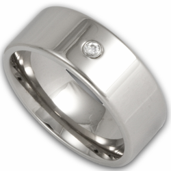 8MM Pipe Cut Titanium Wedding Band w/ Simulated Diamond