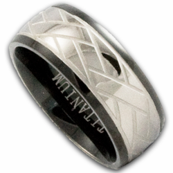 8MM Black Titanium Weave Pattern Wedding Ring
