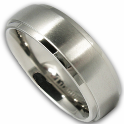 6MM Titanium Wedding Ring w/ Brushed Center