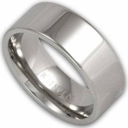 8MM Pipe Cut Titanium Mens Wedding Ring