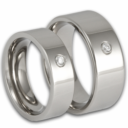 His and Her Pipe Cut Titanium Wedding Ring Set w/ Simulated Diamonds