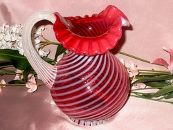 Lovely Fenton Spiral Opalescent Cranberry Pitcher
