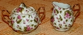 China Creamer and Sugar Bowl with Delicate Pink Flowers #295
