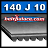 140J10 Belt, 140-J10 Poly-V Belts: J Section, PJ356 Motor Belt. 14 inch (356mm) Length, 10 Ribs.