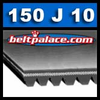 150J10 Belt, 150-J10 Poly-V Belts: J Section, PJ381 Motor Belt. 15 inch (381mm) Length, 10 Ribs.