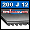 "200J12 Poly-V Belt (Micro-V). 20"" Length, 12 Ribs (1-1/8"" Wide). Metric Belt 12-PJ508"