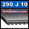 290J10 Belt, 290-J10 Poly-V Belts: J Section, Metric PJ737 Motor Belt. 29� (737mm) Length, 10 Ribs.