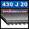 "430J20 POLY-V Belts: J Section. 43"" Length, 20 Ribs"