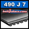 490J7 POLY V Belt. 49 Inch (1245mm), 7 Rib Belt. PJ1245 Metric Poly-V belt.