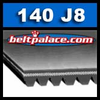 "140J8 Belt, Poly-V, 14"" Length (Metric: 356mm =  8-PJ356) 8 Rib Belt 3/4"" Wide."