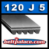 120J5 Poly-V Belt (Micro-V): Metric PJ305 Motor Belt. 12� L, 5 Ribs.