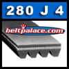 "280J4 Poly-V Belts: J Section. 28"" Length (711mm), 4 rib (3/8"" Wide) motor belt. Metric Belt 4PJ711."