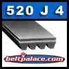 520J4 Belt, 520-J4 Poly-V Belts (Micro-V): J Section, Metric PJ1321 Motor Belt. 52� (1321mm) Length, 4 Ribs.