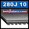 280J10 Belt, 280-J10 Poly-V Belts: J Section, PJ711 Motor Belt. 28 inch (711mm) Length, 10 Ribs.