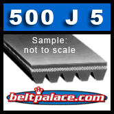 500J5 Belt, Poly-V, 50 inch (Metric: 1270mm =  5PJ1270) 5 rib Belt.