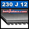 230J12 Belt, 230-J12 Poly-V Belts: J Section, Metric PJ584 Motor Belt. 23 inch (584mm) Length, 12 Ribs.