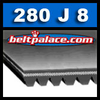 280J8 Poly-V Belt (Micro-V): Metric PJ711 Motor Belt. 28� (711mm) Length, 8 Ribs.