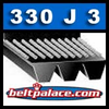 330J3 Poly-V (Micro-V) Belts: 33� Length (838mm), 3 Ribs. Metric 3- PJ838 Belt.