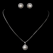 Antique Silver WhiteNecklace & Earrings Bridal Jewelry Set 8902