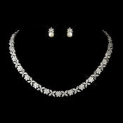 Antique Silver Clear Necklace 8104 & Earrings 9084