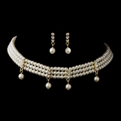 Gold Ivory Chocker Necklace & Earrings Bridal Jewelry Set 133