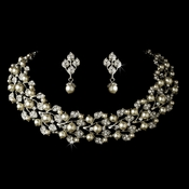 Silver Diamond White Necklace & Earrings Jewelry Set  NE 969