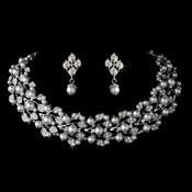Silver White Necklace Earring Set 969