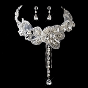 Silver Ivory Rhinestone Floral Venice Lace Bib Necklace & Earrings Bridal Jewelry Set 8471