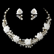 Gold Ivory Pearl, Rhinestone & Swarovski Crystal Necklace & Earrings Flower Jewelry Set 9613