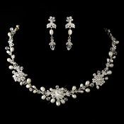 Silver Freshwater Pearl, Swarovski Crystal Bead and Rhinestone Necklace & Earrings Jewelry Set 9692