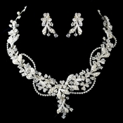 Silver Diamond White Bead, Swarovski Crystal and Rhinestone Necklace & Earrings Jewelry Set 9306