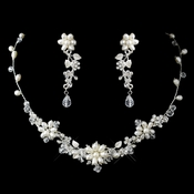 Silver Freshwater Pearl, Swarovski Crystal Bead and Rhinestone Flower Leaf Necklace & Earrings Jewelry Set 9303