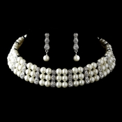 Antique Silver Ivory Pearl & Rhinestone Three Row Coil Necklace & Earrings Jewelry Set 15455
