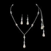 Silver Ivory Clear Necklace Earring Set 8433
