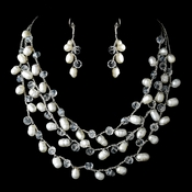 Silver Silk White Pearl Clear Crystal Necklace Earring Set 7829