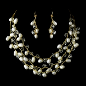 Gold Silk White Pearl Clear Crystal Necklace Earring Set 7829
